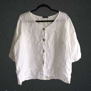 MADE IN ITALY White Linen Shirt Buttons Front Back